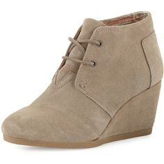 TOMS Suede Desert Wedge Bootie ($94) ❤ liked on Polyvore featuring shoes, boots, ankle booties, wedge boots, lace up booties, wedge bootie, suede booties and taupe wedge booties