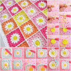 Crochet Daisy Flower Blanket Free Pattern