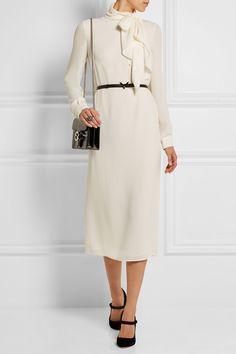 Valentino   Pussy-bow silk-georgette midi dress   NET-A-PORTER.COM