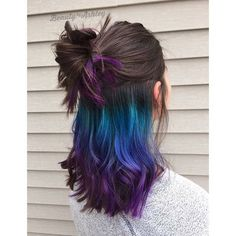 Underlights Are the New Way to Wear Rainbow Hair — In Secret If you love bright hair but can't c Peekaboo Hair Colors, Hair Color Purple, Purple Teal, Peacock Hair Color, Turquoise Hair, Purple Peekaboo Highlights, Color Blue, Purple Nails, Hidden Hair Color