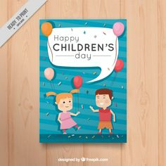 Nice greeting card of children with balloons Free Vector