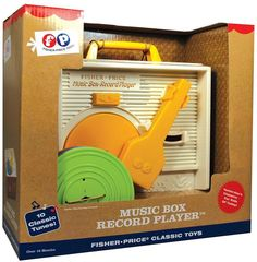 Fisher-Price Classic Record Player. First introduced in 1971, the Fisher-Price Music Box Record Player has brought music to children's ears for generations. https://api.shopstyle.com/action/apiVisitRetailer?id=463728702&pid=uid8100-34415590-43