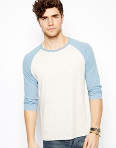 Image 1 ofASOS 3/4 Sleeve T-Shirt With Contrast Raglan Sleeves