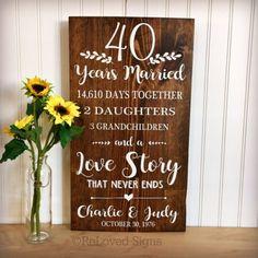40TH Rubis anniversaire de mariage voir à travers élégant VERRE cadres cadeaux Presents
