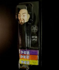Anton Lavey Pez Dispenser. This is so diabolically awesome.
