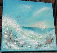 Ocean Sunrise 12x12 Original Mixed Media Art by TerraArtGallery: