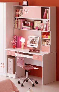 Compact Study Room Designs To Help Your Kids Study : DIY Home Decor: Pink & White Computer Study Desk. Study Room Furniture, Study Room Decor, Cute Room Decor, Study Rooms, Study Room Kids, Diy Furniture, Furniture Cleaning, Large Furniture, Furniture Stores