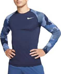 Compression Pants, Pant Shirt, Blue Camo, Mens Fitness, Nike Men, Sportswear, Long Sleeve Shirts, Running Gear, How To Wear