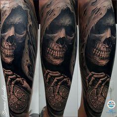 Evil Skull Tattoo, Evil Tattoos, Skull Sleeve Tattoos, Grim Reaper Tattoo, Creepy Tattoos, Leg Tattoos, Body Art Tattoos, Tattoos For Guys, Sick Tattoo