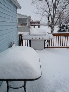 """Sandy Shipe of Keezletown,VA says """"February 12th/13th Snow storm. Already over a foot of snow on my back deck!!"""" #WHSVsnow"""