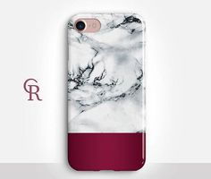 Burgundy Marble Phone Case For iPhone 8 iPhone 8 Plus  iPhone