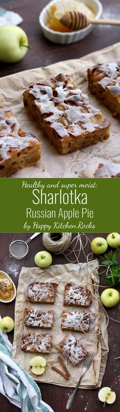 Sharlotka (Шарлотка) is the most well-known, quick and easy Russian apple pie. It's the most moist, healthy and delicious apple pie I've ever tasted! This recipe is sugar-free and dairy-free.