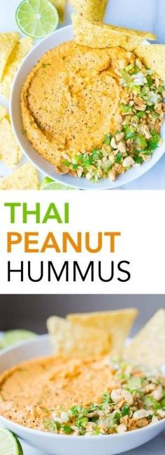 Thai Peanut Hummus: A simple homemade hummus recipe that's filled with Thai peanut sauce ingredients like Sriracha, garlic, and ginger!…