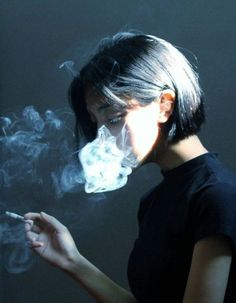 asian, black, and cigarette by Tata | We Heart It