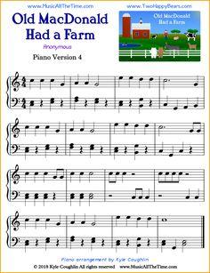 Old MacDonald Had a Farm intermediate sheet music for piano. Easy Piano Sheet Music, Piano Music, Free Printable Sheet Music, Trumpet Music, Keyboard Lessons, Kids Piano, Piano Teaching, Learning Piano, Piano Tutorial