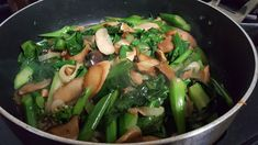 Stir fry Chinese Broccoli and Mushrooms Asparagus, Broccoli, Sauteed Greens, Chinese Vegetables, Garlic Sauce, Food Preparation, Stir Fry, Fries, Stuffed Mushrooms
