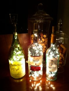 DIY-Bottle Lamp Using Christmas lights and a wine bottle you will have a really cool looking lamp. You can top the bottle with your favorite wine stopper or simply use the cork it came with. You can also use a tiny little lamp shade Garrafa Diy, Diy Bottle Lamp, Bottle Art, Bar Deco, Recycled Lamp, Recycled Bottles, Recycled Crafts, Diy Lampe, Wine Bottle Crafts