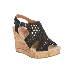 Jellypop Womens Mosaic Solid Wedge Sandals (150 MYR) ❤ liked on Polyvore featuring shoes, sandals, black, braided sandals, cork wedge sandals, ankle tie sandals, ankle strap sandals and black wedge sandals