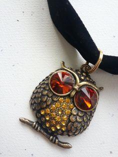 Gold Owl with Black Velvet Ribbon Choker by OldeTowneJewelry, $16.00