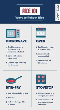We're back with another Rice 101 lesson! This one's how to reheat rice so you can enjoy your delicious leftovers with a few simple tools. The quickest way is in the microwave with a paper towel, but you can also use the stovetop method, bake it in the oven or mix it up and make fried rice. How To Reheat Rice, Making Fried Rice, Thing 1, Foil Paper, Microwave Oven, Towel, Baking, Learning, Simple