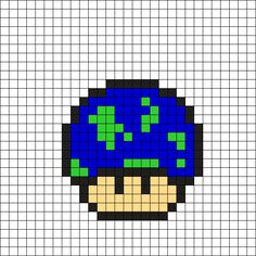 World Mushroom Perler Bead Pattern (16x16) perler,hama,square pegboard,video games,nintendo, super mario bros,mushroom,