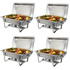 Super Deal Stainless Steel 4 Pack 8 Qt Chafer Dish w/ Water Pan, Food Pan, Lid.   For product info please visit:  https://homeandgarden.today/super-deal-stainless-steel-4-pack-8-qt-chafer-dish-w-water-pan-food-pan-lid/