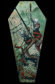 The Hunters Become the Hunted coffin canvas print by Day of the Dead Artist David Lozeau