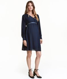 Check this out! Short, V-neck dress in airy woven fabric with gathers at shoulders. Gathered yoke at back, elasticized seam under bust, and long, cuffed sleeves with covered buttons. Matching, studded grosgrain belt with tie at back. Jersey lining. - Visit hm.com to see more. Small