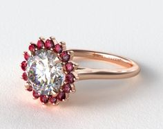 5 New Engagement Ring Trends That Are About To Go Viral #refinery29  http://www.refinery29.com/2016/03/106917/new-engagement-ring-trends-2016#slide-4  Why not add some rubies to the equation? James Allen 14K Gold Ruby Pave Sunburst Engagement Ring, $1,560, available at James Allen....