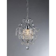 $74....Warehouse of Tiffany Veronica 1-Light Silver Crystal Chandelier-RL4025 - The Home Depot
