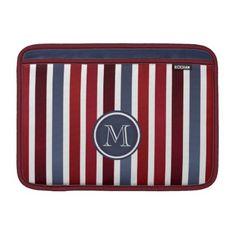 #stripes - #Bordeaux Blue Stripes Pattern Monogram MacBook Air Sleeve