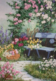 rose garden ideas pictures | PM073 Bench in Rose Garden complete kit | Di van Niekerk
