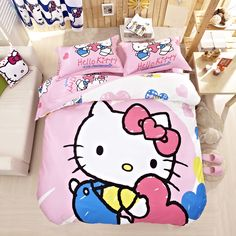 Hot Seller Classical Pink Hello Kitty Bed Comforter Kids Bedding Set Twin Queeen King