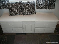 You can cut down or take the legs off of an old dresser, repaint it and use it as a mudroom or entry way bench. It holds your shoes keeping them all hid nicely!