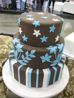 blue-and-brown chocolate wedding cake #wedding #dress www.loveitsomuch.com