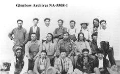 North Peigan at Brocket, Alberta. Date: 1923 L-R back row: Joe Buffalo; Blackfoot Band, Great Lakes Region, Tribal People, Old West, First Nations, Young Man, British Columbia, Front Row, Native American