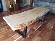 Custom Beautiful live edge Coffee Tables with steel von RusticTrip