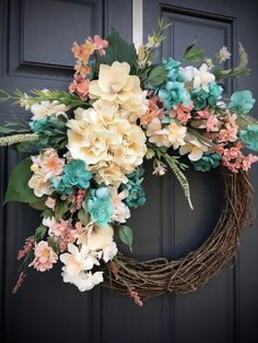 gift gift for her Free idea Spring Door Wreaths, Easter Wreaths, Summer Wreath, Wreaths For Front Door, Altar Decorations, Flower Decorations, Turquoise Wreath, Wedding Wreaths, Diy Wreath
