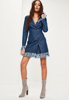 Missguided - Blue Frayed Hem Denim Blazer Dress