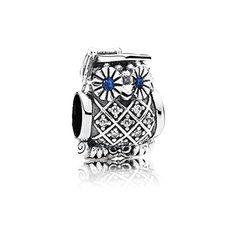 Zilveren uil charm met Zwitsers blauw kristal en zirkonia