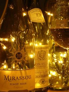 Twinkle light wine bottles DIY