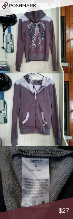 Miss Me hoodie Miss Me hoodie brown with gray cuffs and waistband.  Full zip , Rhinestones on wings missing a few. Not really noticeable. Size L but fits a med . Or small Large. Gently worn. Miss Me Jeans Tops Sweatshirts & Hoodies