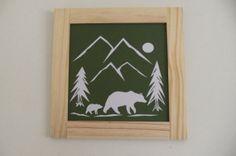 Mama Bear and Cub Cut Paper Framed Art by BentKneeTree on Etsy, $15.00