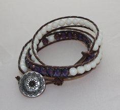 Triple wrapped leather bracelet  3x wrap bracelet  by mvtreasures, $65.00
