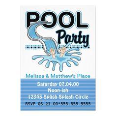 Handmade Pool Party Invitations | pool party invitation splish splash it s a pool party throw a summer ...