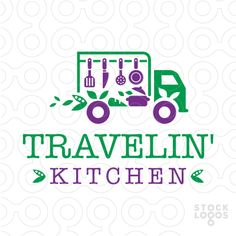 Food truck kitchen delivery service http://stocklogos.com/logo/traveling-kitchen-truck #logo