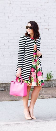 Stripes and florals my be elementary pattern mixing but they're still classic!