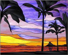 """Chinaman's Hat"" ~ Stained glass ~ Oahu, Hawaii ~ Miks' Pics ""Artsy Fartsy lll"" board @ http://www.pinterest.com/msmgish/artsy-fartsy-lll/"