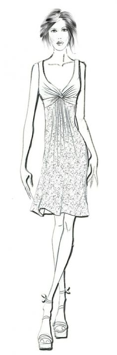 Dress With A Knot - Sewing Pattern #2022. Made-to-measure sewing pattern from Lekala with free online download.