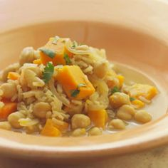 The nutty goodness of slowly browned onions, spices and sweet potato are offset by a burst of fresh cilantro in this chickpea and rice stew. Serve this hearty dish with whole-wheat pita and a salad o...see more